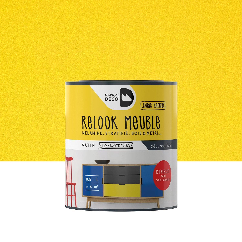 Peinture pour meuble relook meuble maison deco jaune 0 5 l leroy merlin for Peinture deco meuble