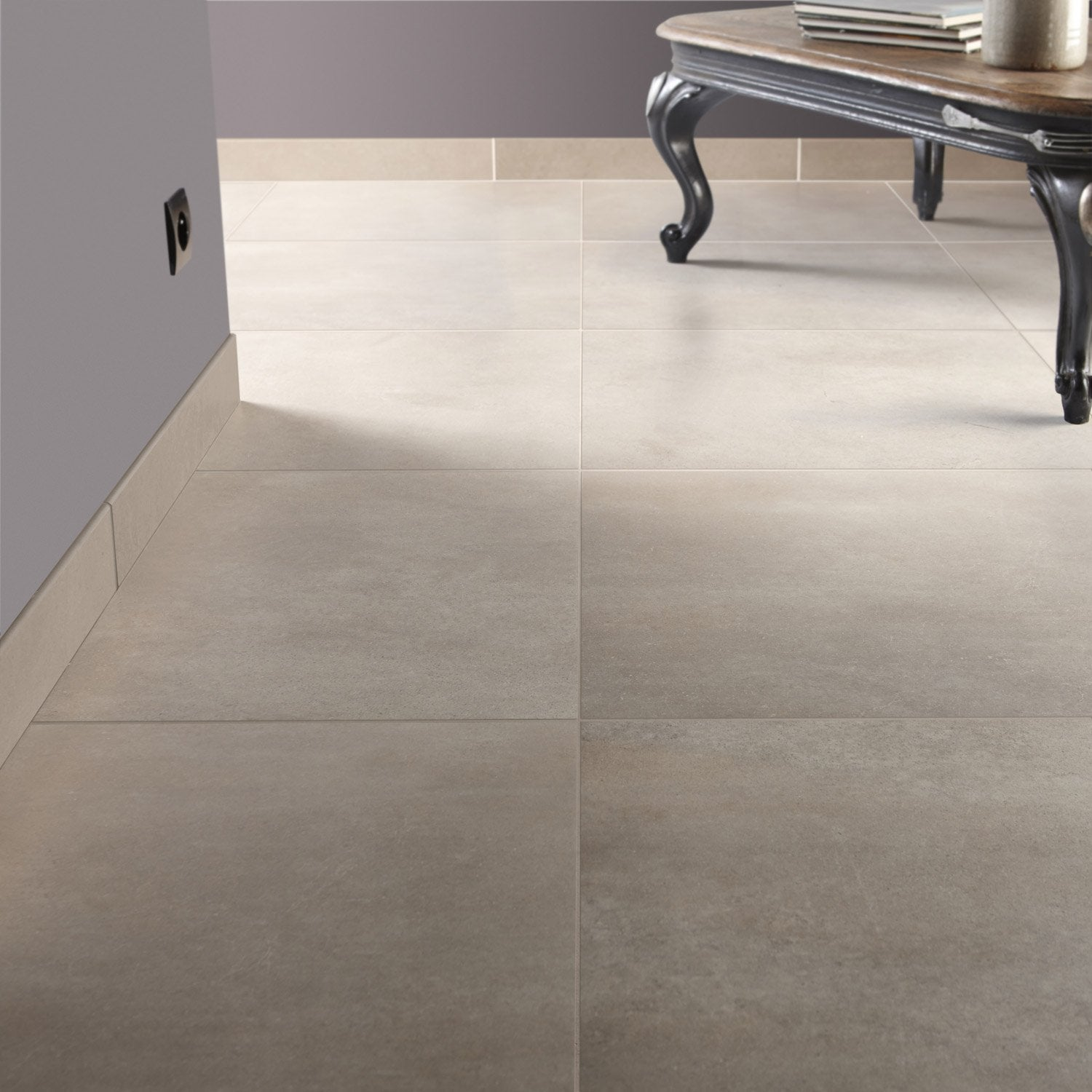 Carrelage sol et mur sable effet pierre roma x for Carrelage clipsable leroy merlin