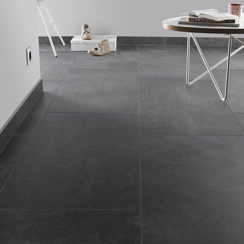 Carrelage sol et mur noir graphite effet pierre roma for Carrelage blanc joint noir