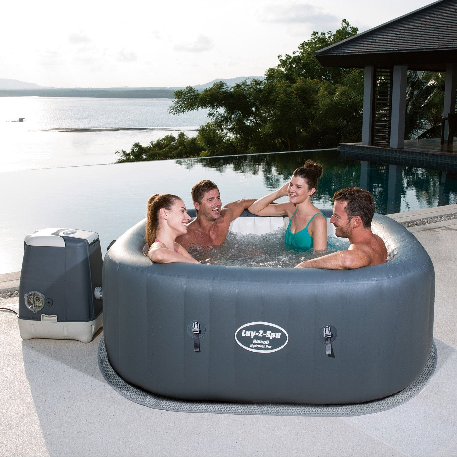 Spa gonflable bestway hawai carr 6 places assises leroy merlin - Jacuzzi gonflable carre ...