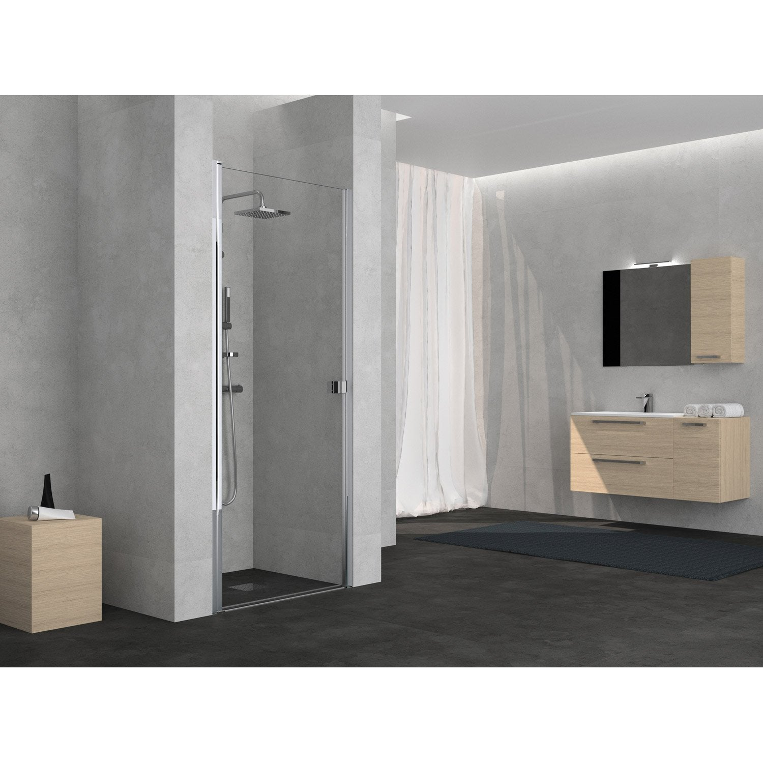 porte de douche pivotante 85 cm transparent neo leroy. Black Bedroom Furniture Sets. Home Design Ideas
