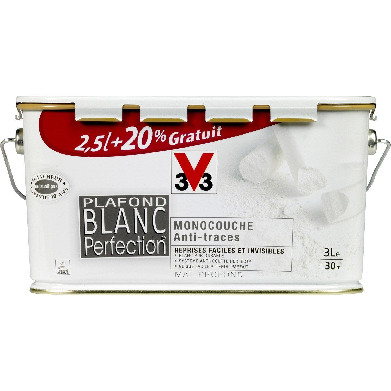 Peinture pour plafond blanc perfection v33 2 5l 20 gratuit leroy merlin - Peinture v33 plafond ...