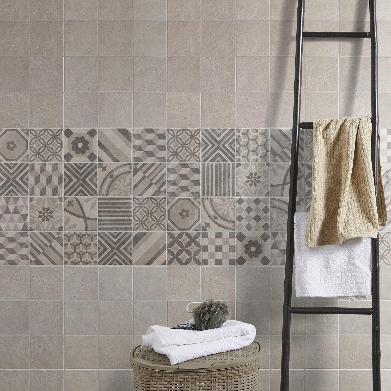 Carrelage sol et mur blanc elliot x cm leroy merlin - Carrelage gris mur blanc ...