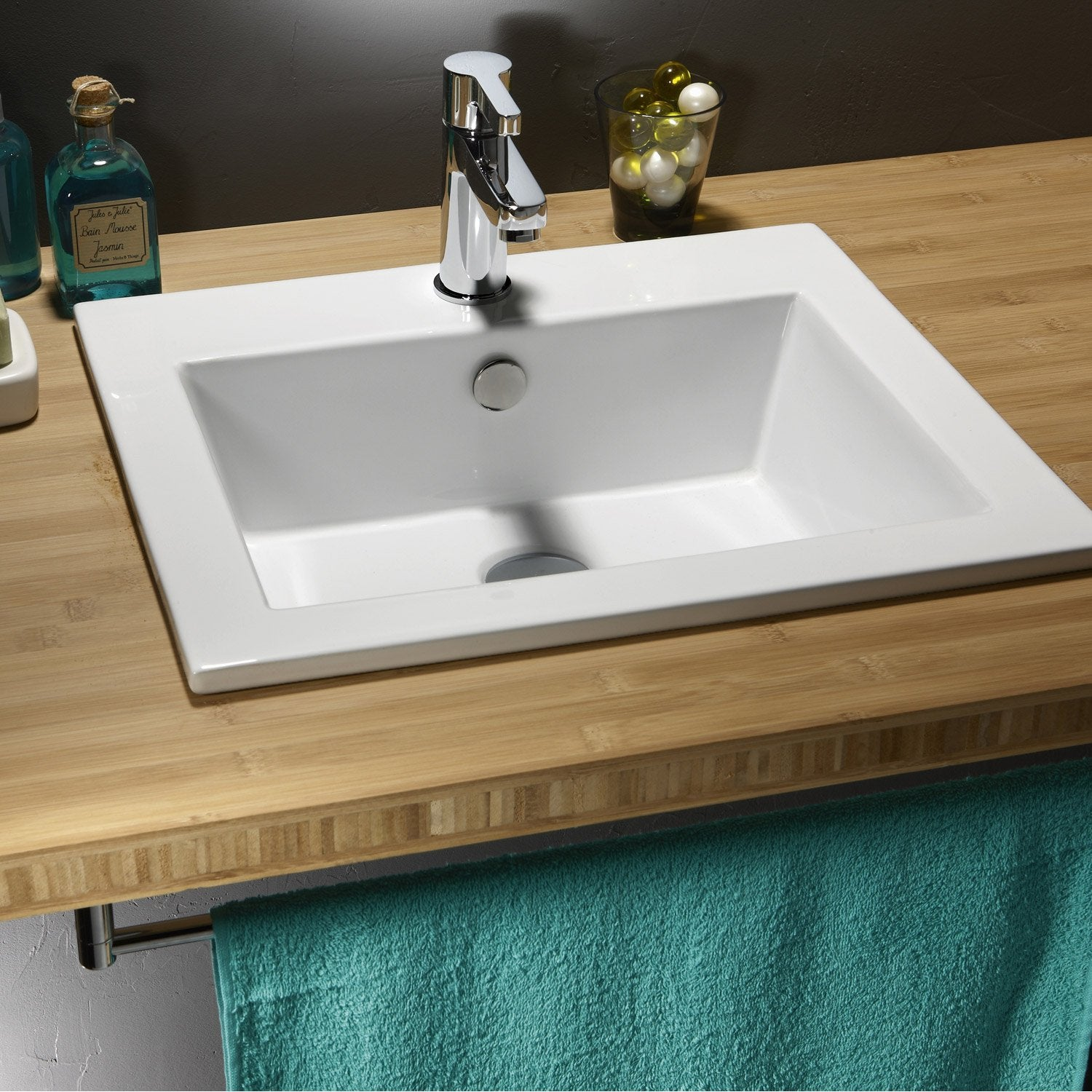 Vasque encastrer c ramique x cm blanc keo for Ensemble lavabo meuble leroy merlin
