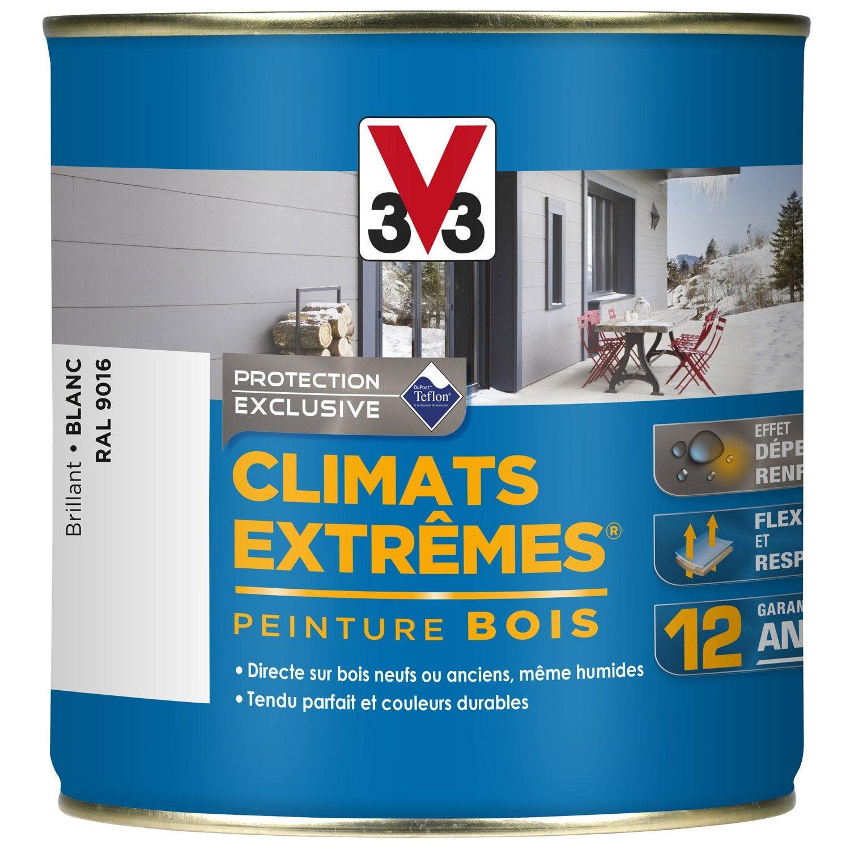 Peinture bois ext rieur climats extr mes v33 blanc 0 5 l for Peinture exterieur leroy merlin