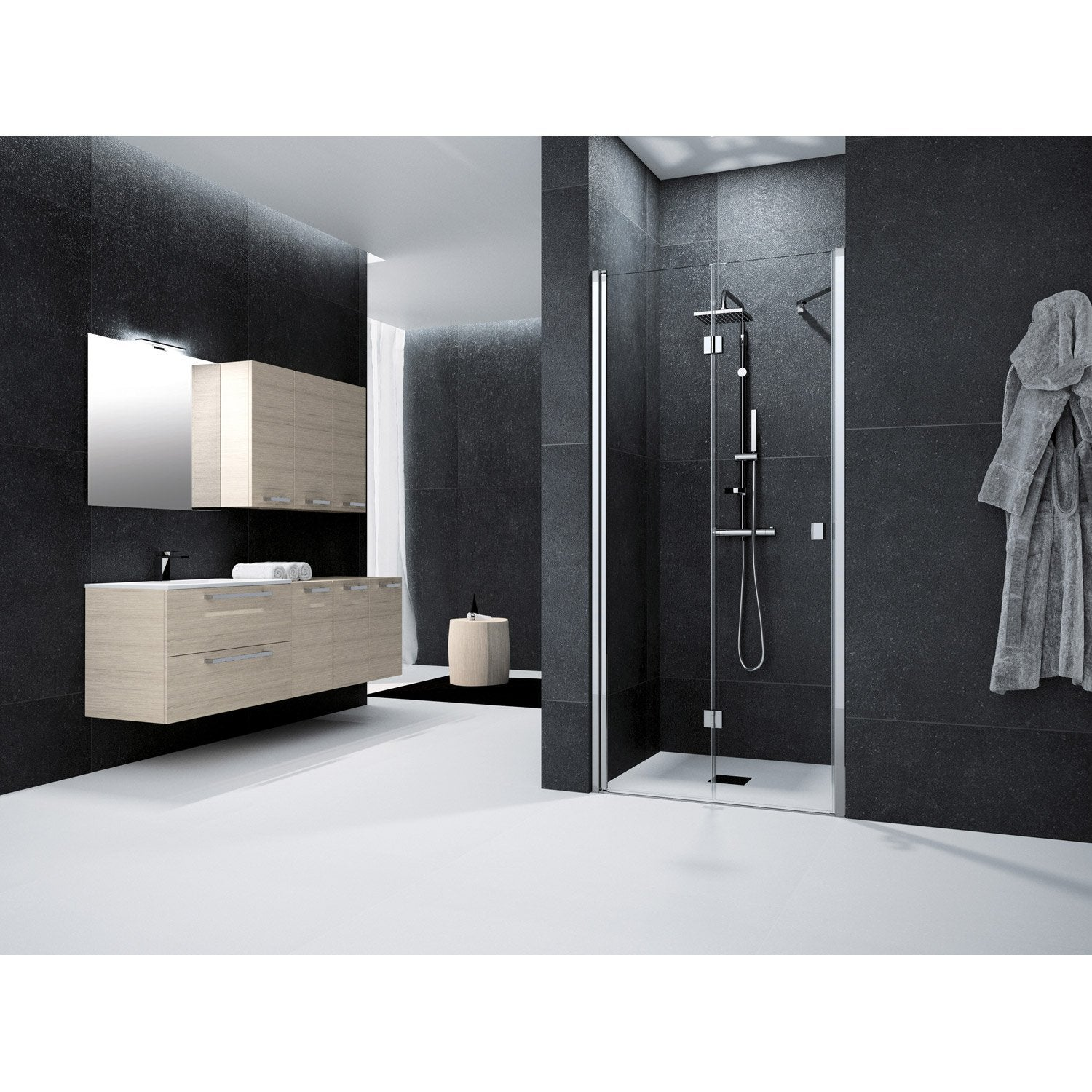 porte de douche pivot pliante 80 cm transparent neo leroy merlin. Black Bedroom Furniture Sets. Home Design Ideas