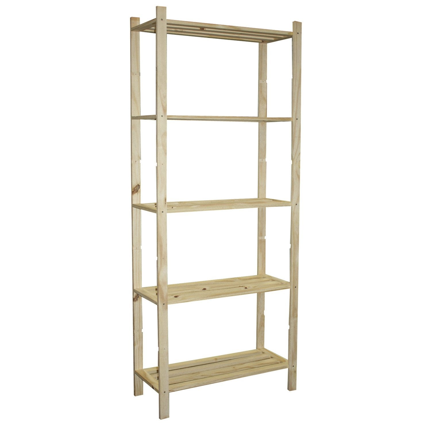 Etag re pin 5 tablettes x x cm leroy for Etagere de cuisine en bois