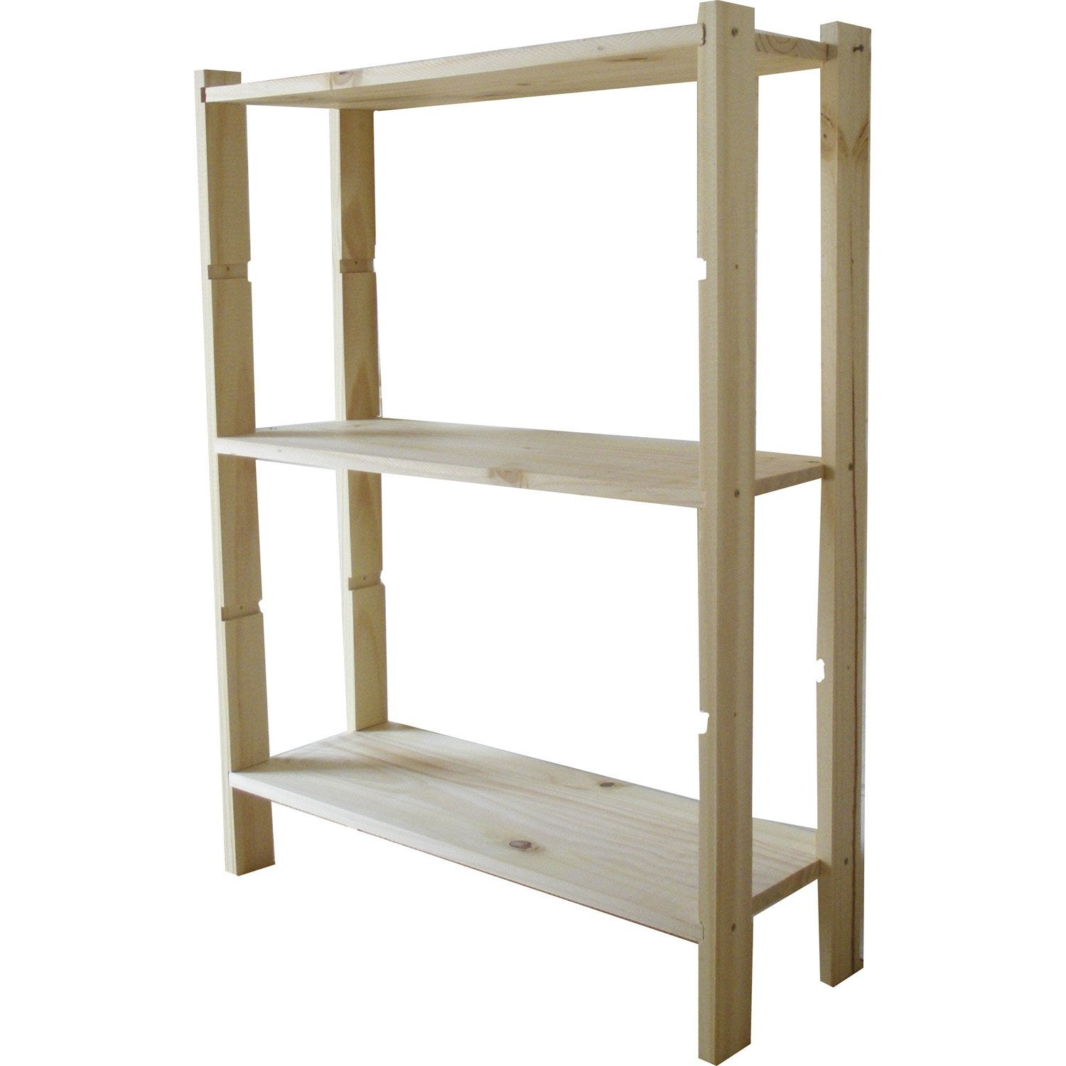 Etag re pin 3 tablettes x x cm leroy for Etagere bois brut