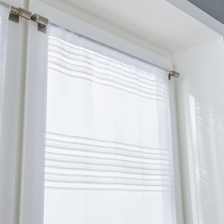 paire de vitrages tamisant petite hauteur diana blanc x cm leroy merlin. Black Bedroom Furniture Sets. Home Design Ideas
