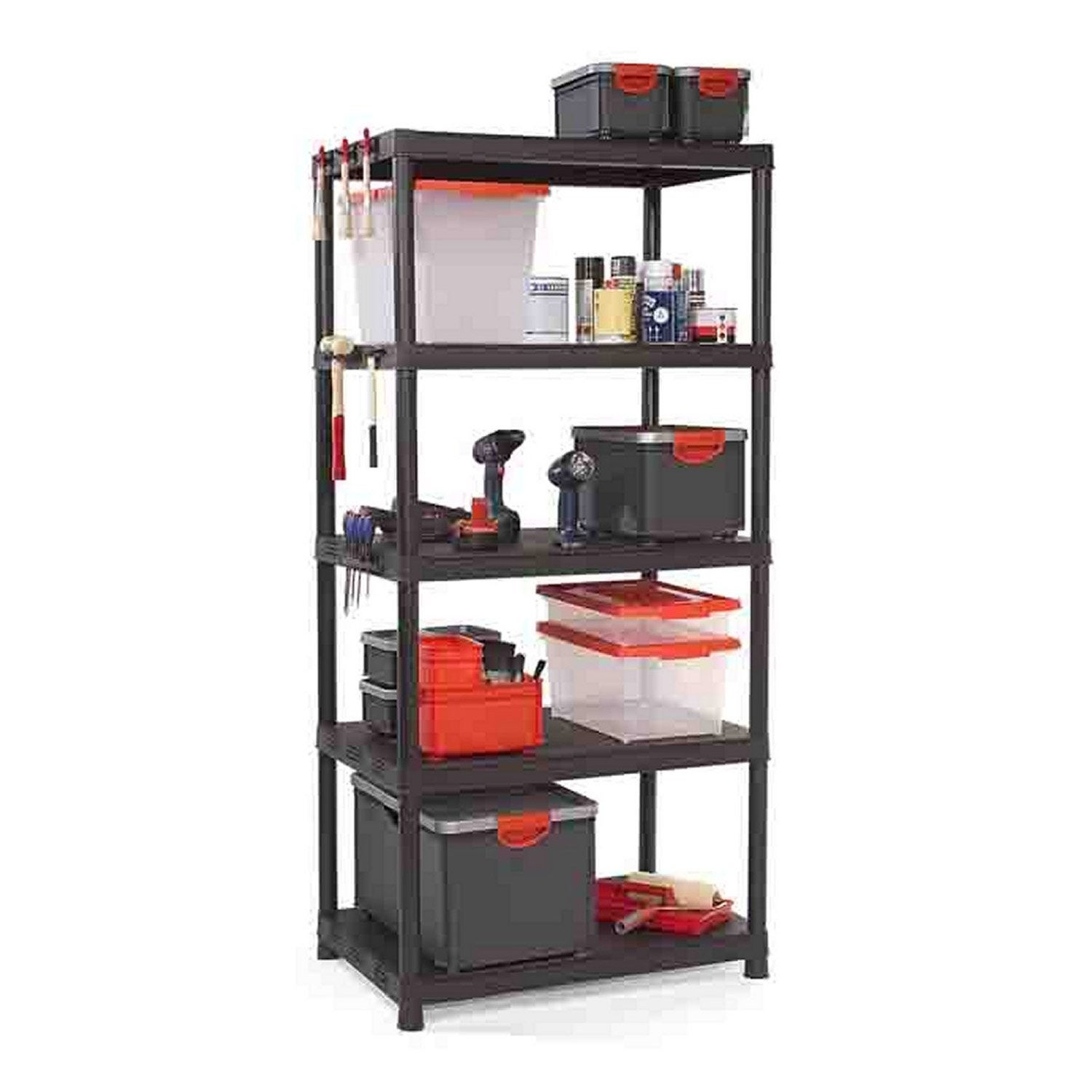 Etag re r sine kis 5 tablettes noir l90xh187xp60 cm - Etagere modulable leroy merlin ...