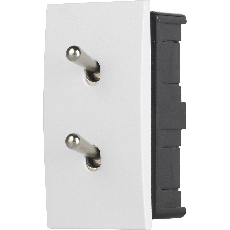 double interrupteur va et vient encastrable blanc modelec karo leroy merlin. Black Bedroom Furniture Sets. Home Design Ideas