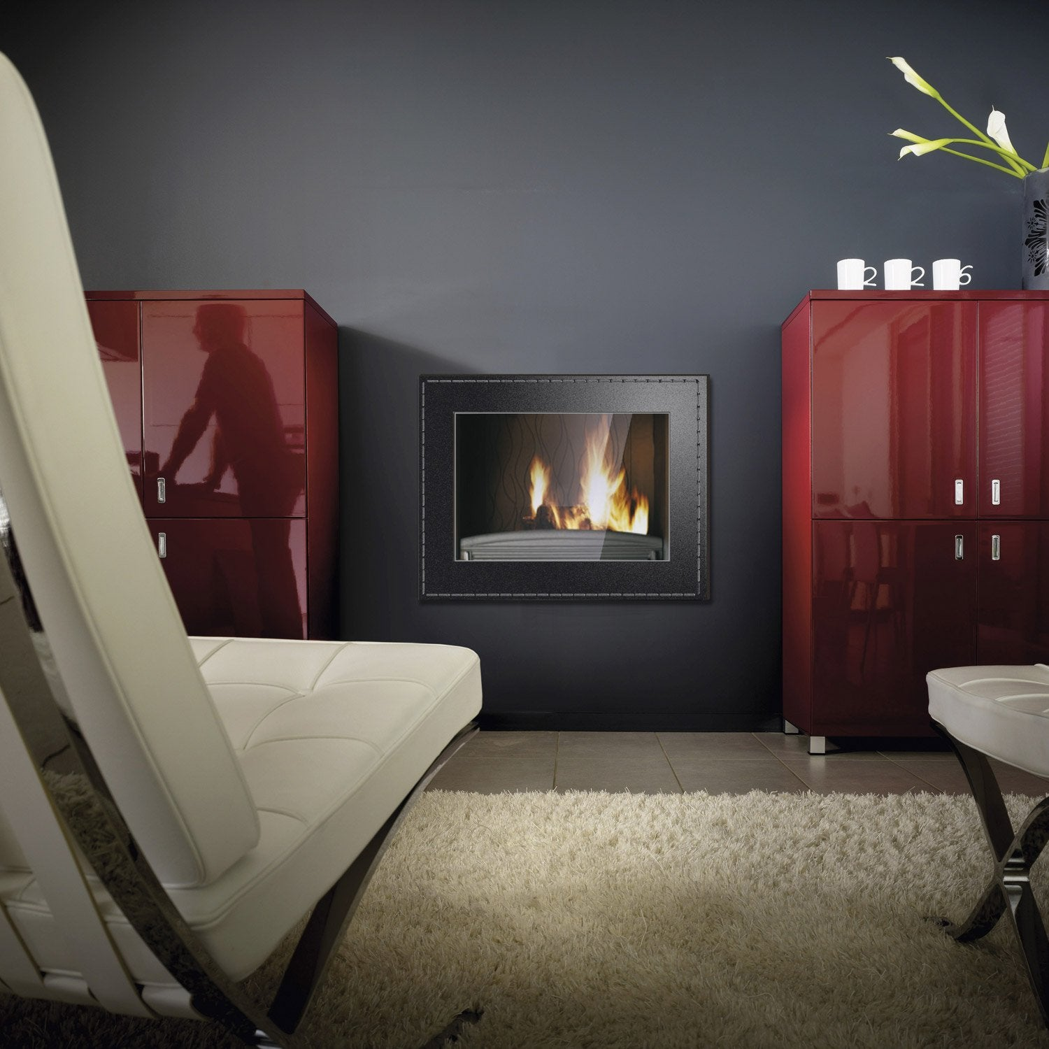 po le bois encastrable invicta cuir 800 6581 44 14 0 kw leroy merlin. Black Bedroom Furniture Sets. Home Design Ideas