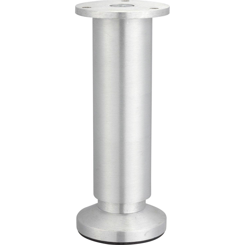 pied de meuble cylindrique r 233 glable en aluminium bross 233 gris 15 17cmx38mm leroy merlin
