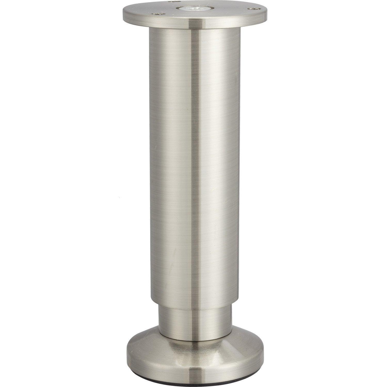 Pied de meuble cylindrique r glable aluminium chrom gris - Leroy merlin pied meuble ...