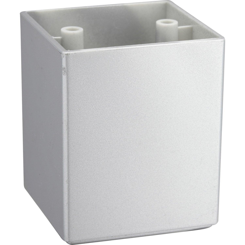 pied de meuble carr fixe en plastique gris leroy. Black Bedroom Furniture Sets. Home Design Ideas