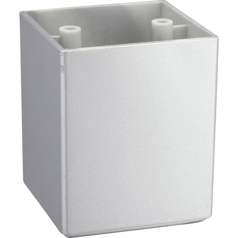 Pied de meuble carr fixe plastique gris 6 4 cm leroy merlin - Leroy merlin pied meuble ...