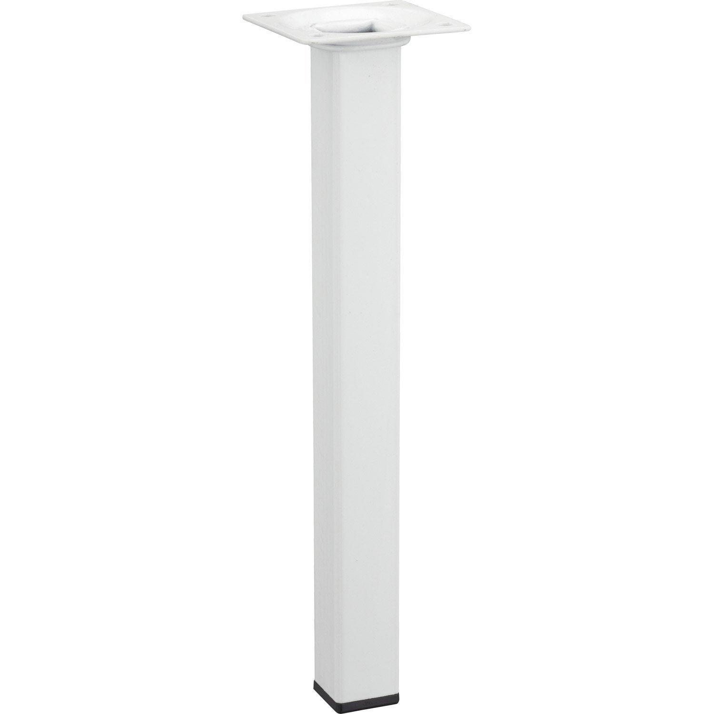Pied de table basse carr fixe en acier epoxy blanc 25cm - Pieds de table leroy merlin ...