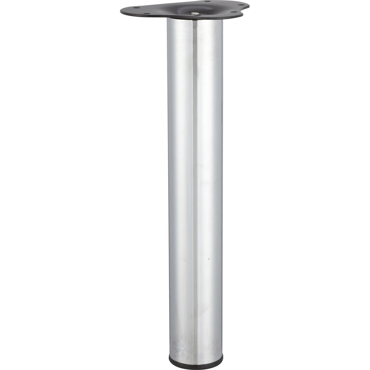 Pied de table basse cylindrique r glable acier chrom gris for Table basse 3 pieds