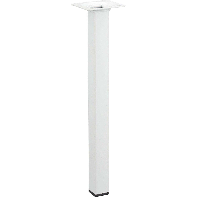 Pied de table basse carr fixe acier poxy blanc 30 cm for Pied de table cuisine leroy merlin