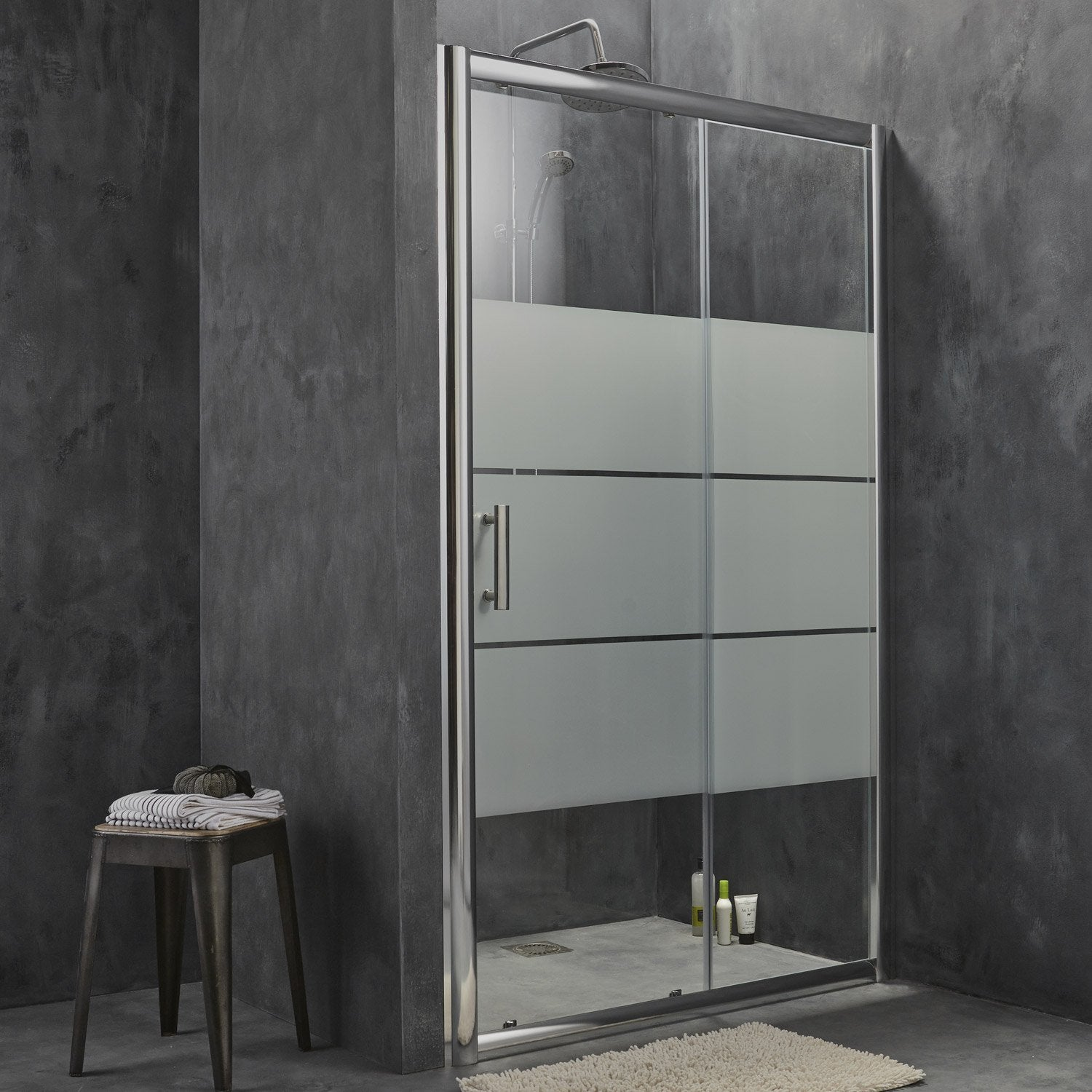 porte de douche coulissante 116 5 120 cm profil chrom optima2 leroy merlin. Black Bedroom Furniture Sets. Home Design Ideas