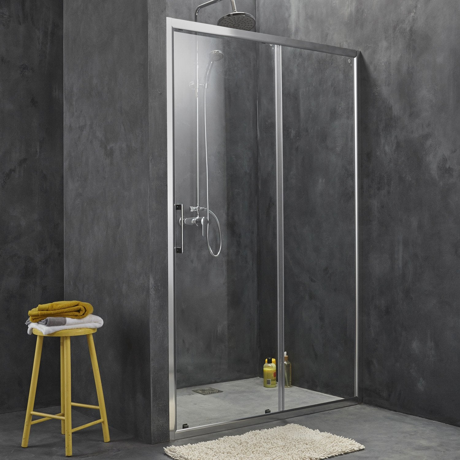 Porte de douche coulissante sensea remix verre de for Portes de douche leroy merlin