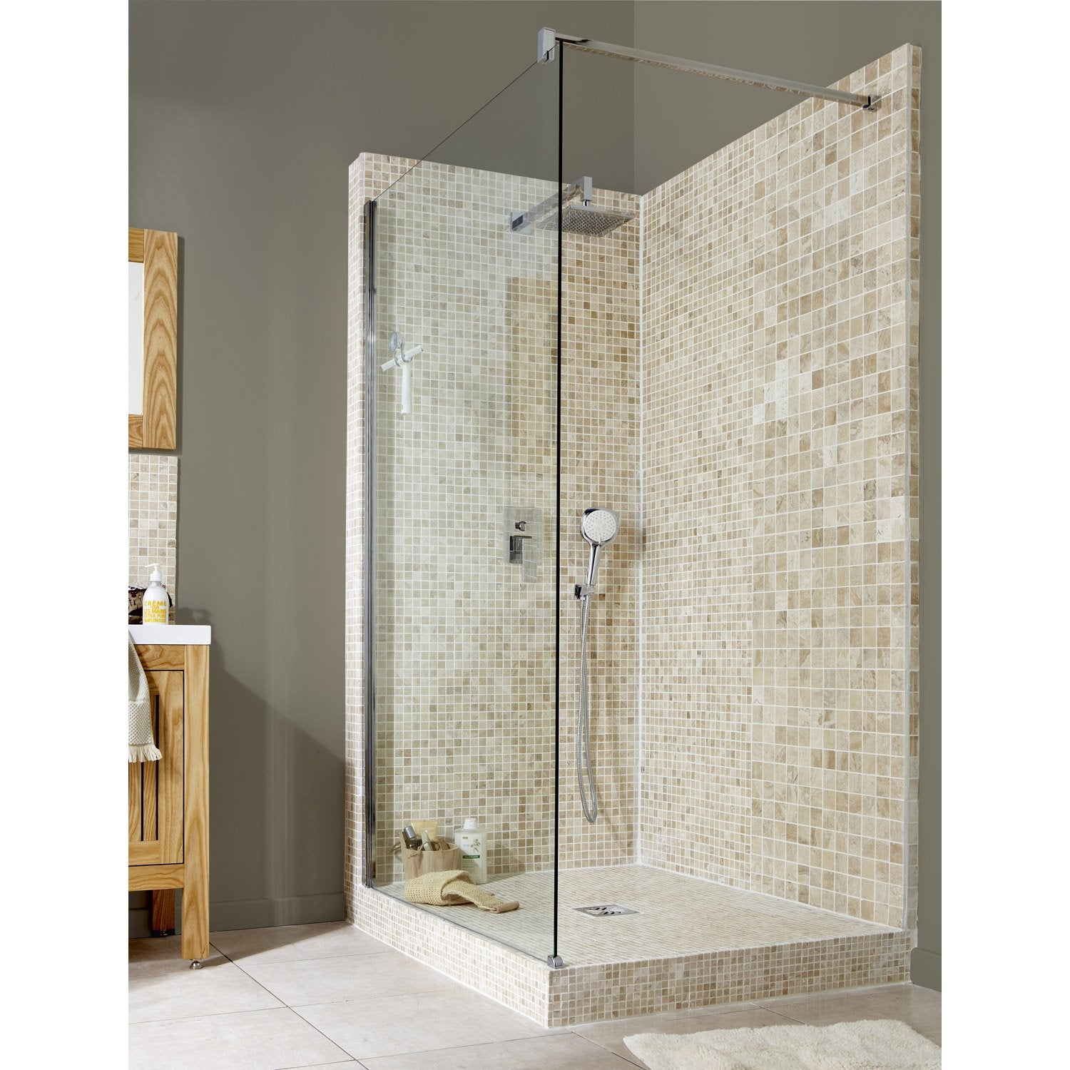 Paroi de douche l 39 italienne elis e 1 profil chrom 120 cm leroy merlin for Photo de douche a l italienne