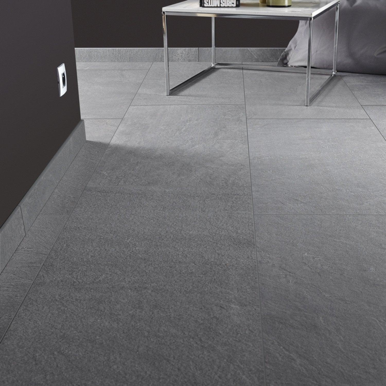 Carrelage sol et mur gris effet pierre story x for Carrelage tomette grise