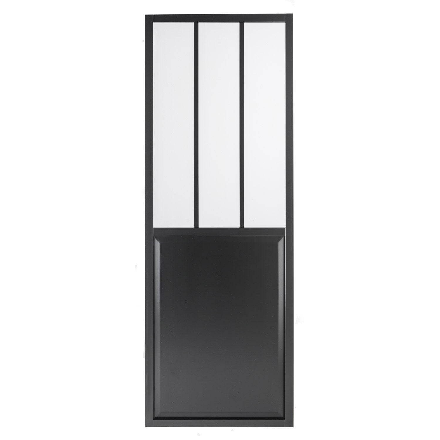 Porte coulissante aluminium noir atelier verre clair for Porte 3 points leroy merlin