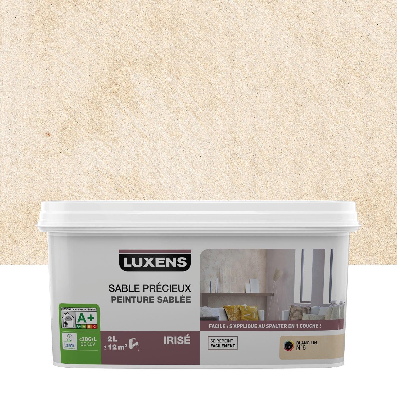 Peinture effet sable pr cieux luxens blanc lin 6 2 l - Peinture magnetique leroy merlin ...