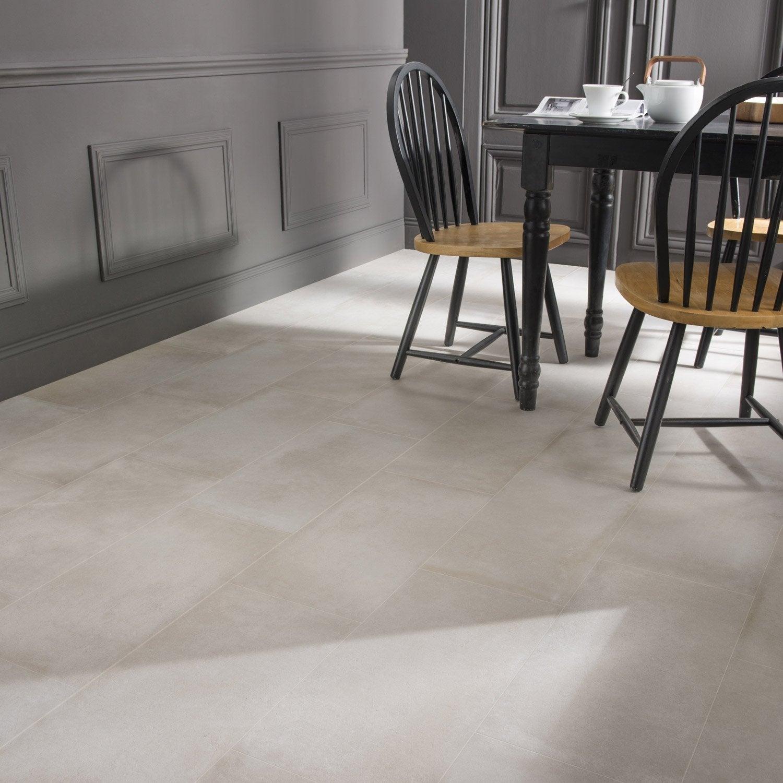 Carrelage sol et mur blanc cass effet b ton time x l for Carrelage salle de bain effet beton