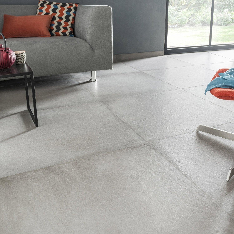 Carrelage sol et mur gris ciment effet b ton time x l for Carrelage interieur blanc