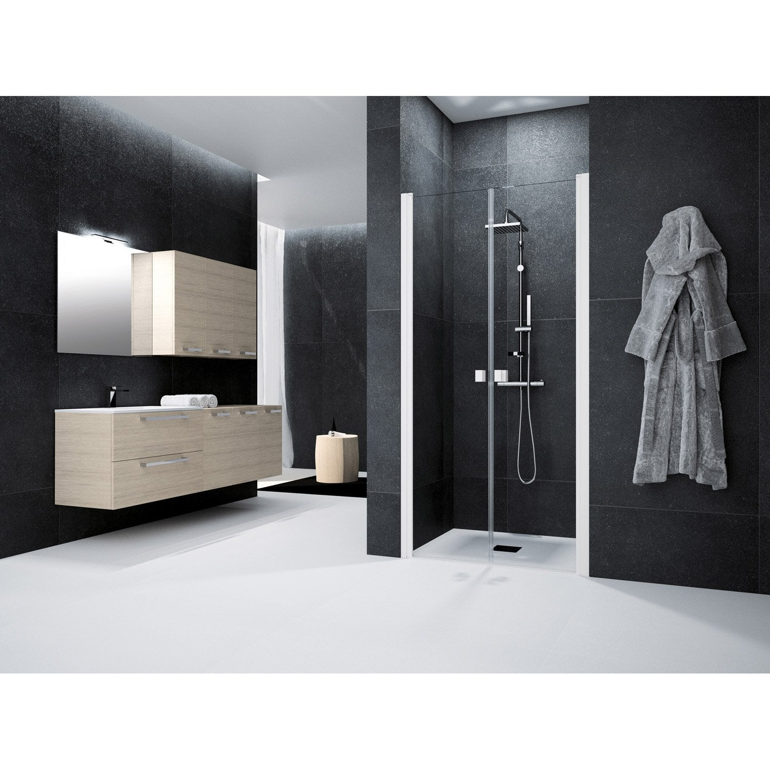 porte de douche battante 90 cm transparent neo leroy merlin. Black Bedroom Furniture Sets. Home Design Ideas