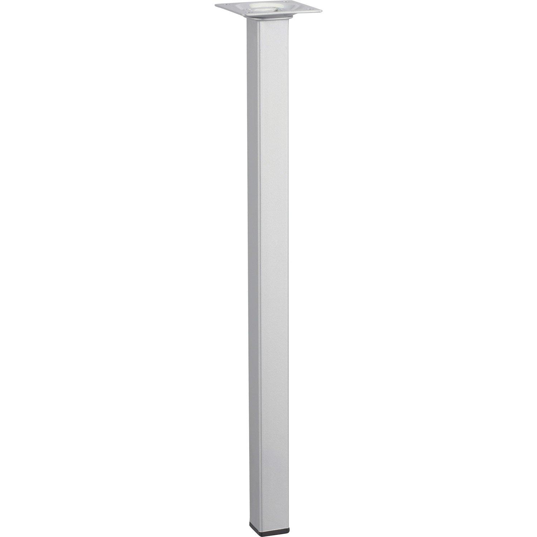 Pied de table basse carr fixe acier poxy gris 40 cm - Pieds de table leroy merlin ...