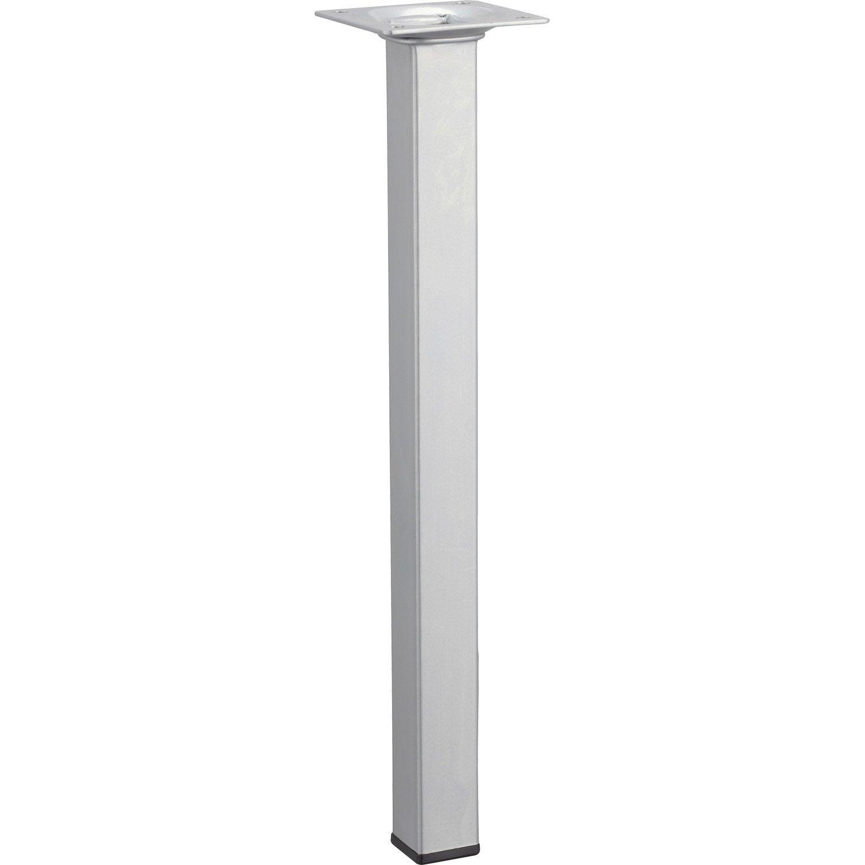 Pied de table basse carr fixe acier mat gris 30 cm for Table basse scandinave leroy merlin