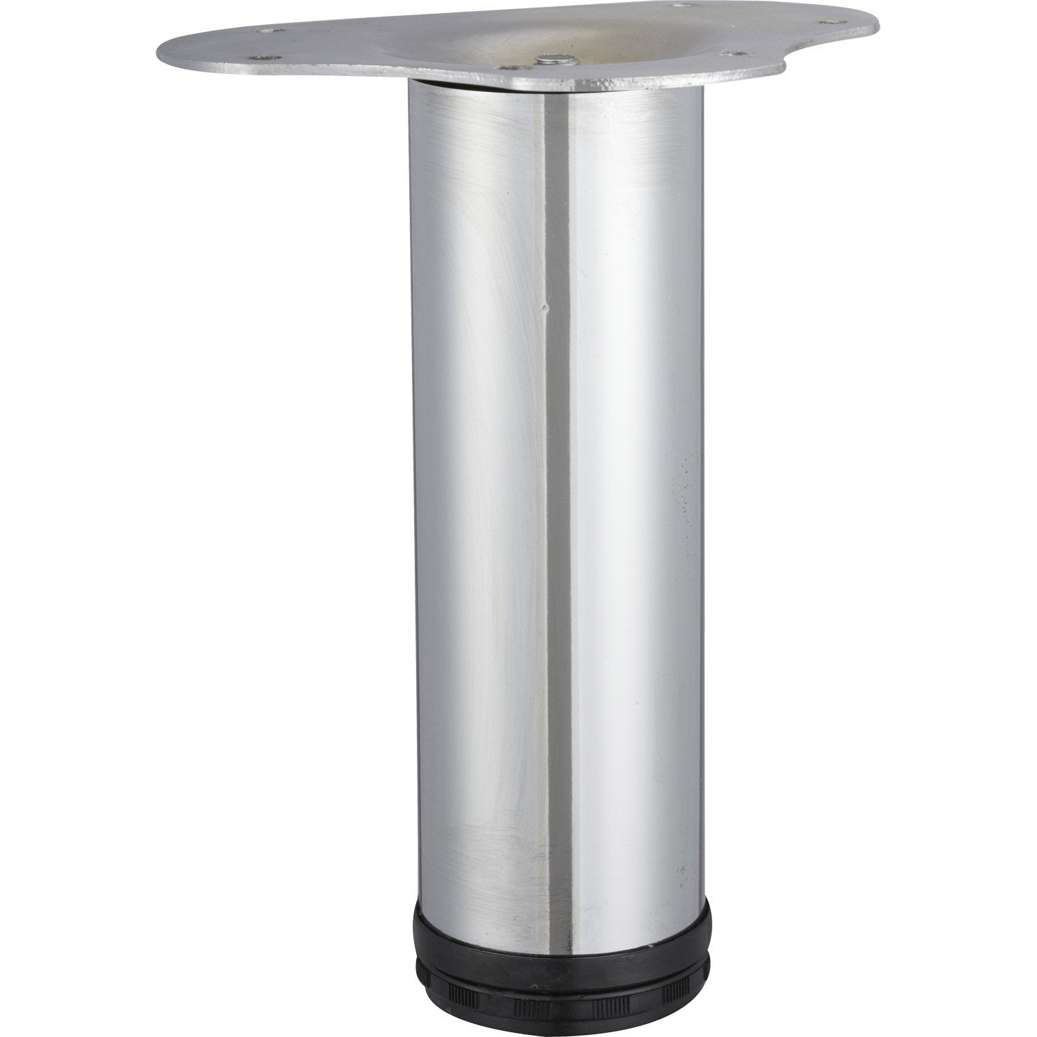 Pied de table basse cylindrique r glable en acier chrom gris 20cmx60mm le - Pied de table basse leroy merlin ...