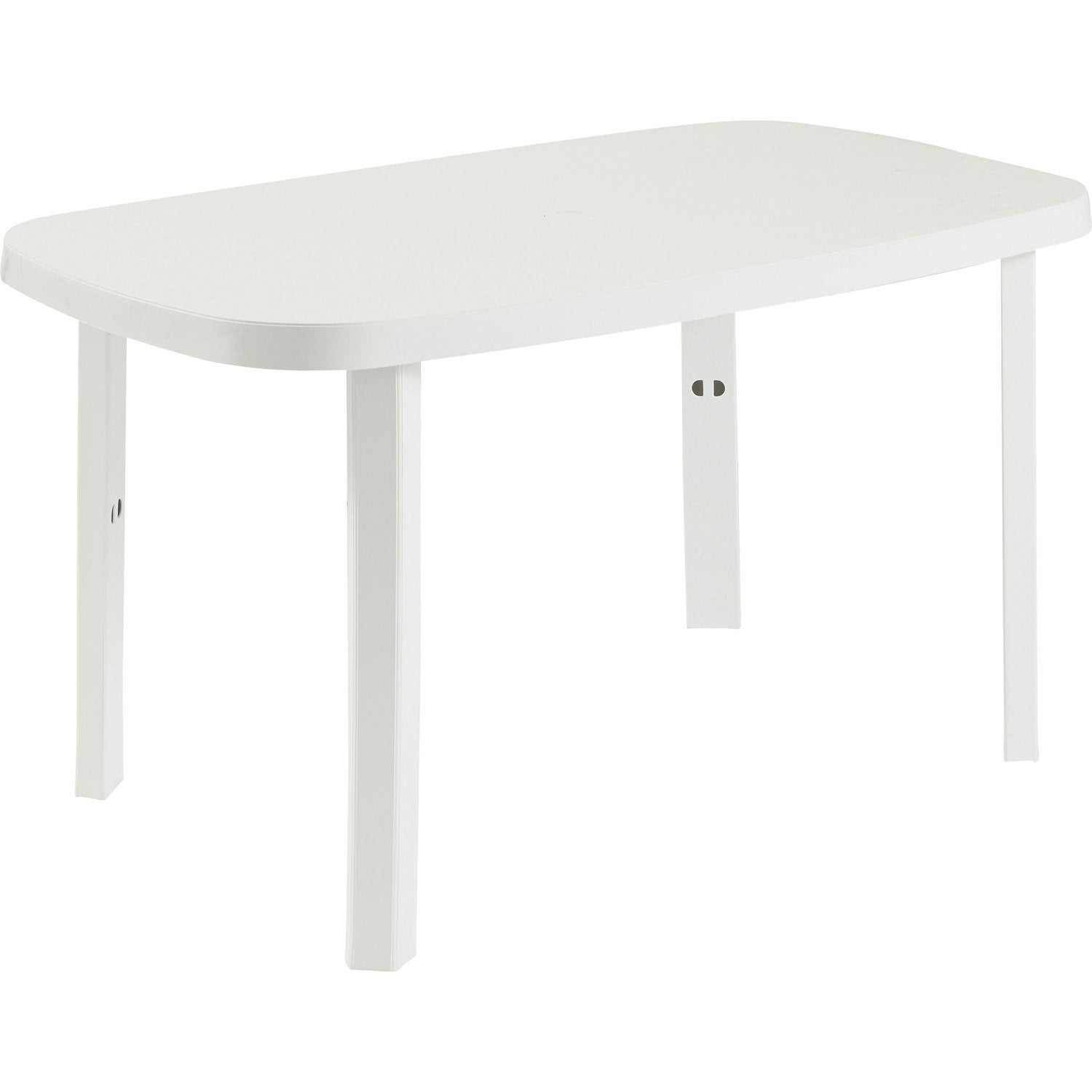 Table de jardin otello ovale blanc 2 personnes leroy merlin for Table de jardin plastique