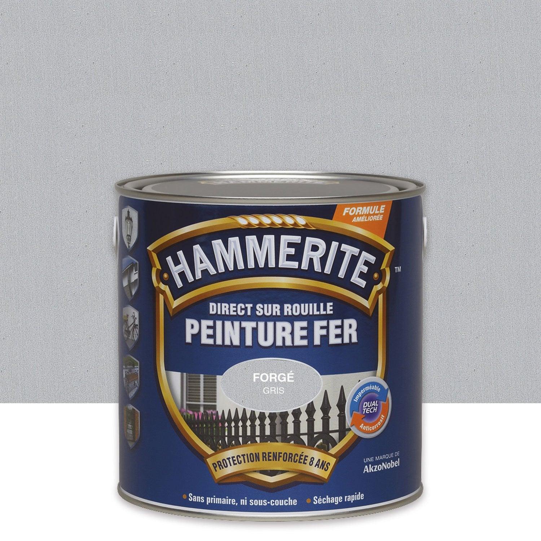 Peinture fer ext rieur hammerite gris zinc 2 5 l leroy merlin for Peinture exterieur