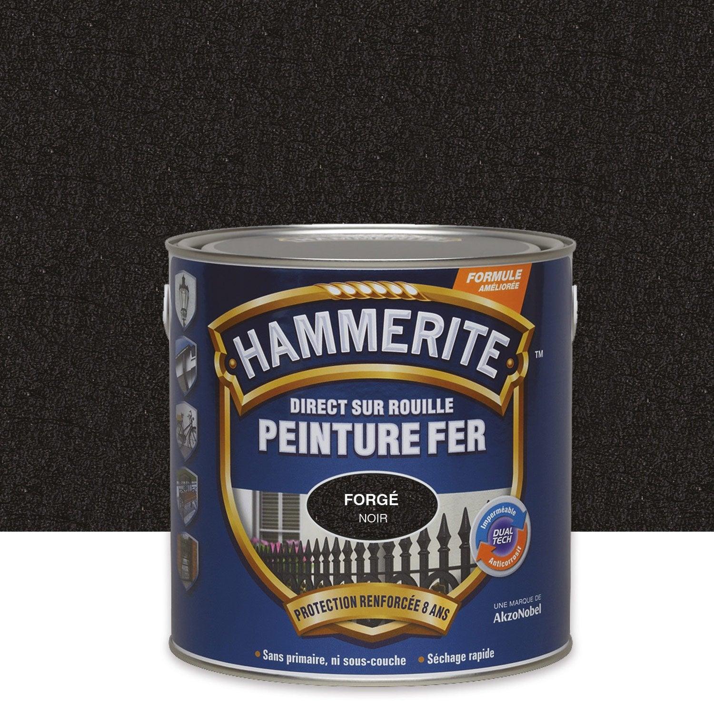 Peinture fer ext rieur hammerite noir 2 5 l leroy merlin for Peinture radiateur couleur cuivre