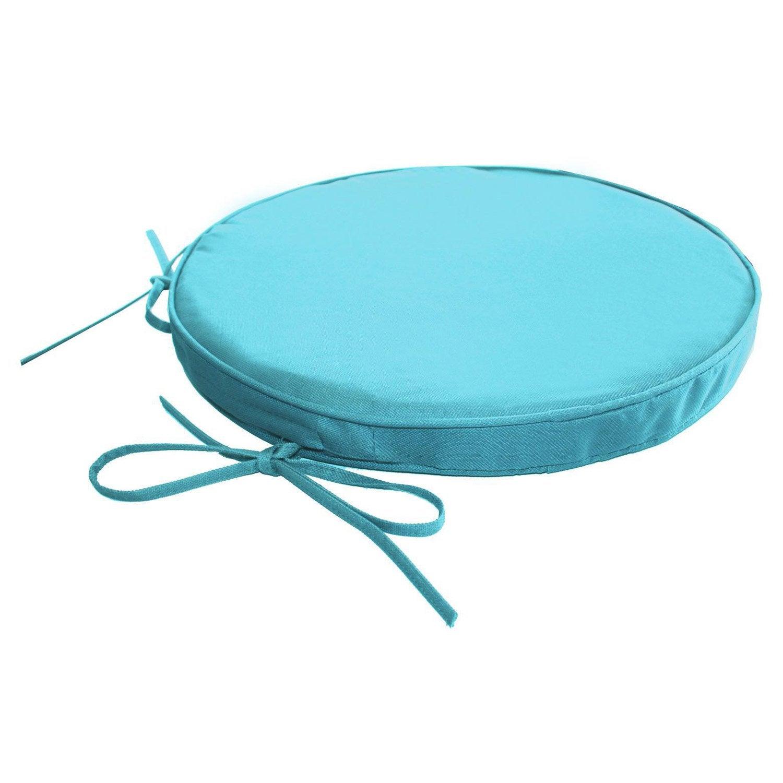 Galette de chaise imperm able ronde bleu atoll n 5 for Galette de chaise impermeable