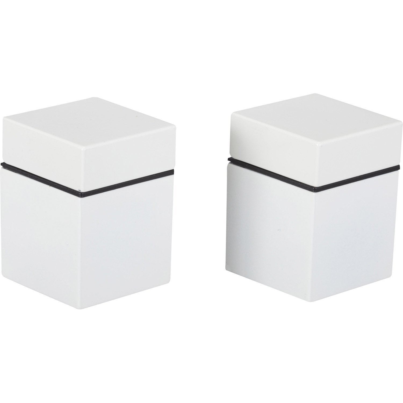 Lot de 2 querres pince cube en zamak mat blanc leroy for Cube leroy merlin