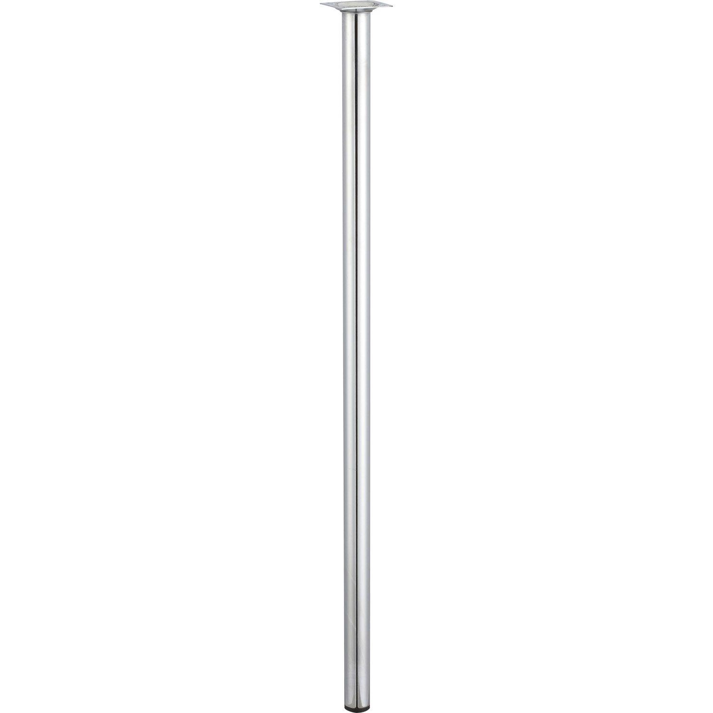 Pied de table cylindrique fixe en acier chrom gris - Pied parasol leroy merlin ...