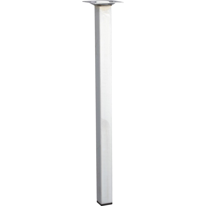Pied de table basse carr fixe acier chrom gris 40 cm - Leroy merlin pieds de table ...