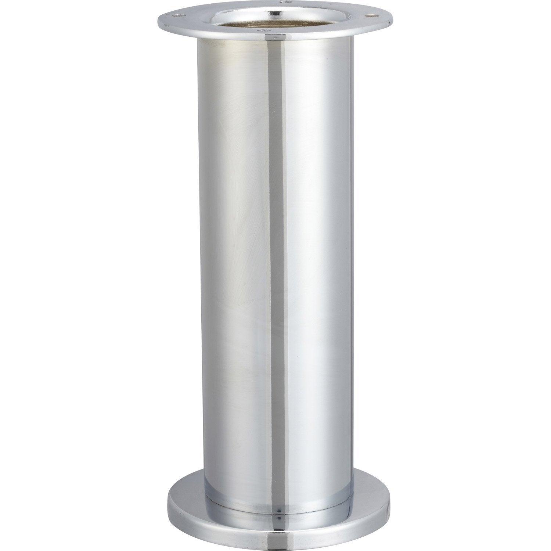 Pied de table cylindrique fixe acier chrom gris 20 cm - Pieds de table leroy merlin ...
