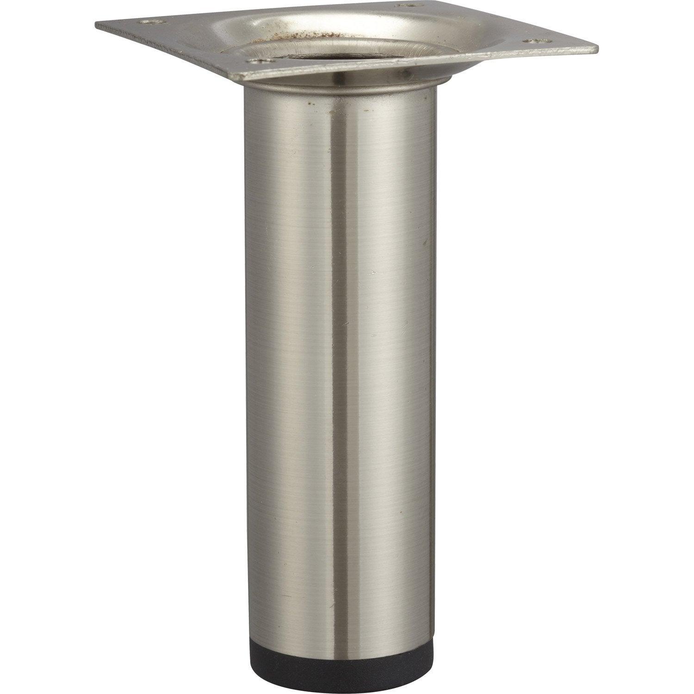 Pied de meuble cylindrique fixe acier bross gris 10 cm - Pied de table leroy merlin ...
