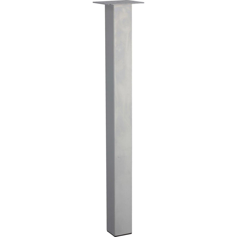 Pied de table carr r glable acier mat gris de 70 73 cm - Leroy merlin pieds de table ...