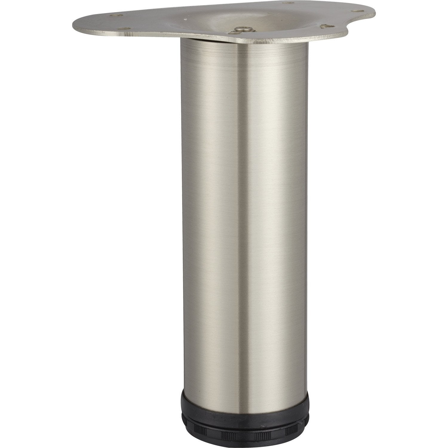 Pied de table basse cylindrique r glable acier bross gris for Table pied central ikea