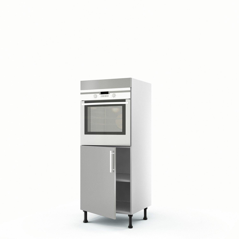 Meuble de cuisine demi colonne gris four 1 porte d lice for Meuble colonne de cuisine