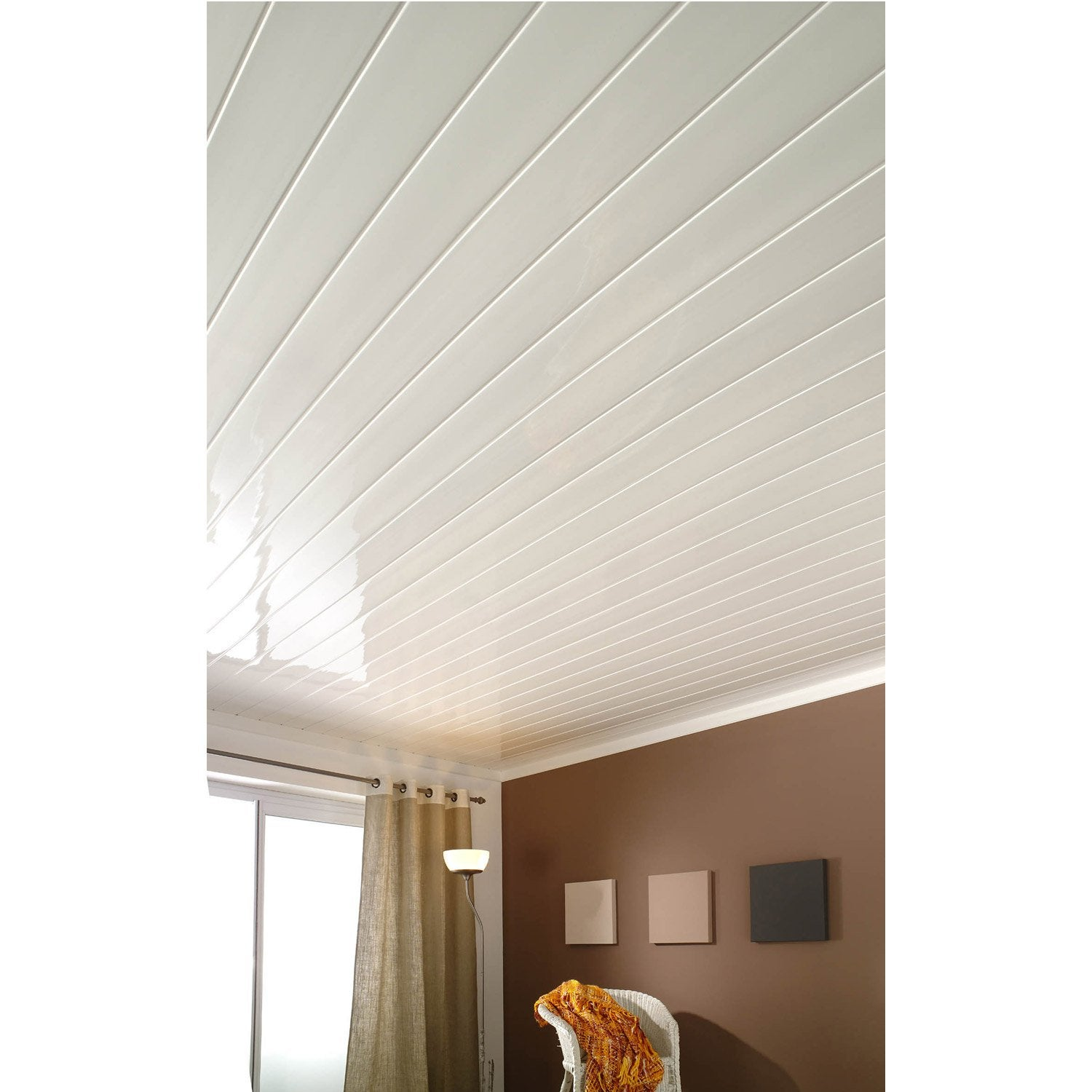 Lambris pvc blanc brillant for Plafond en pvc blanc
