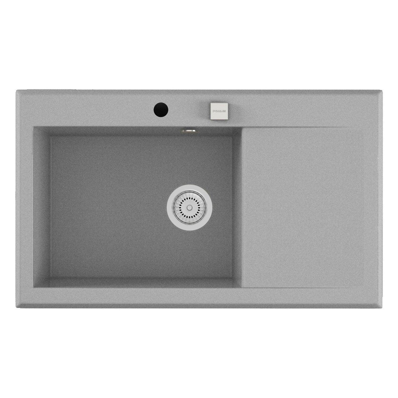 evier encastrer quartz et r sine gris m tallis shira 1. Black Bedroom Furniture Sets. Home Design Ideas