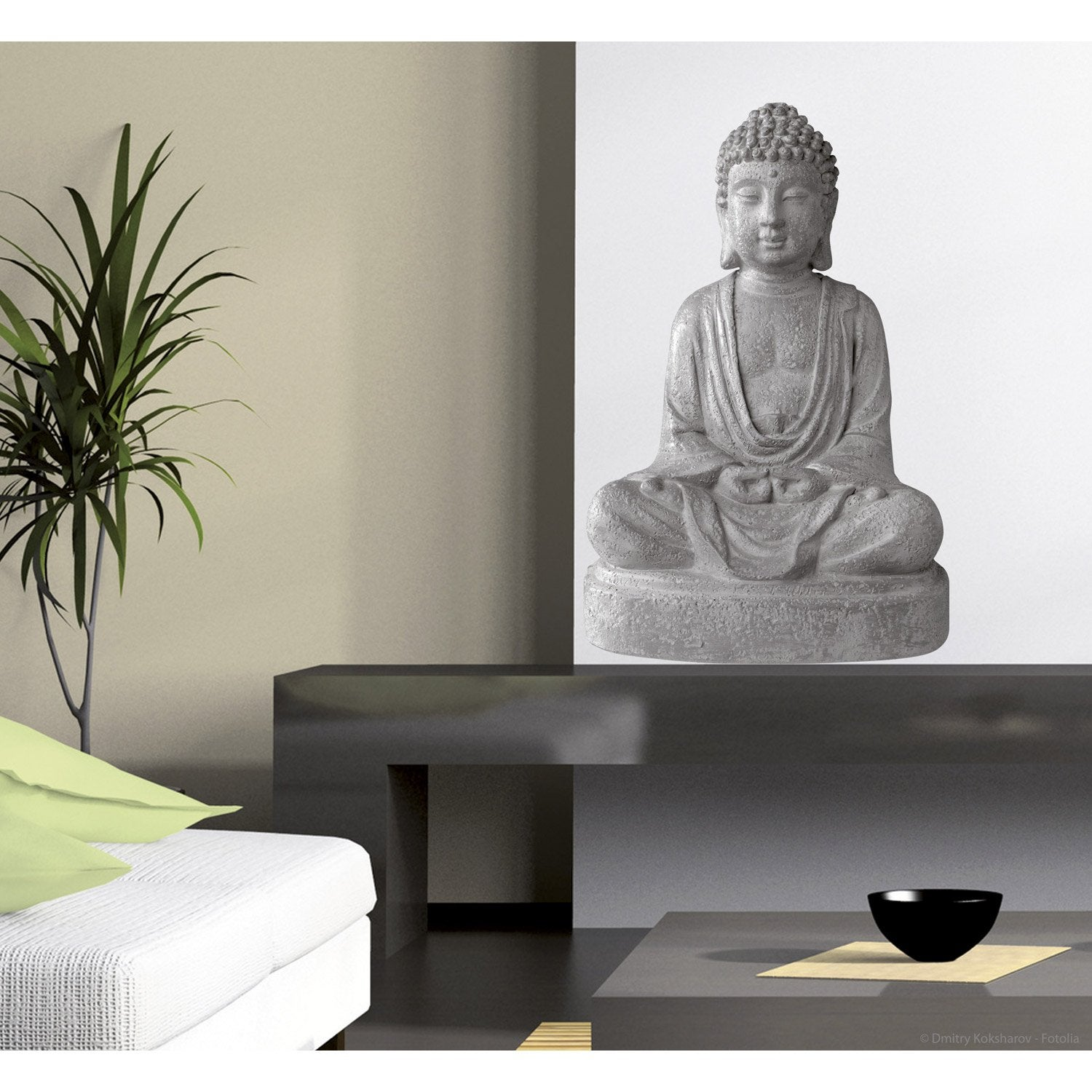 Sticker bouddha 48 cm x 68 cm leroy merlin for Peinture salon zen